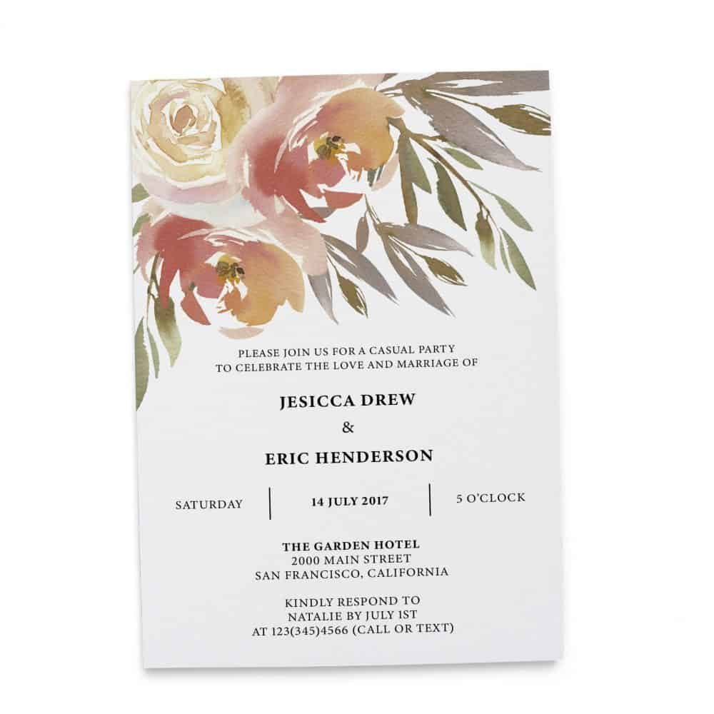Elopement Reception Invitation Cards, Wedding Reception Invitations, Floral Invitation Card- Gentle Watercolor Flowers Design elopement269