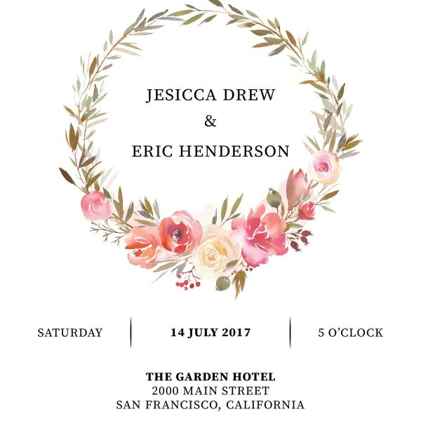 Elopement Reception Invitation Cards, Wedding Reception Invitations, Floral Invitation Card- Floral Wreath Design