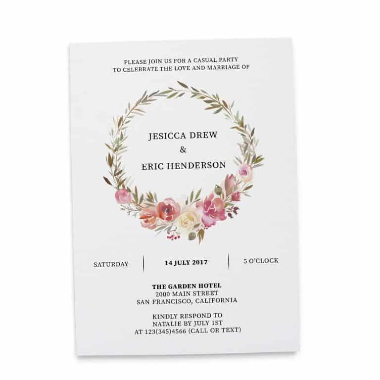 Elopement Reception Invitation Cards, Wedding Reception Invitations, Floral Invitation Card- Floral Wreath Design elopement270