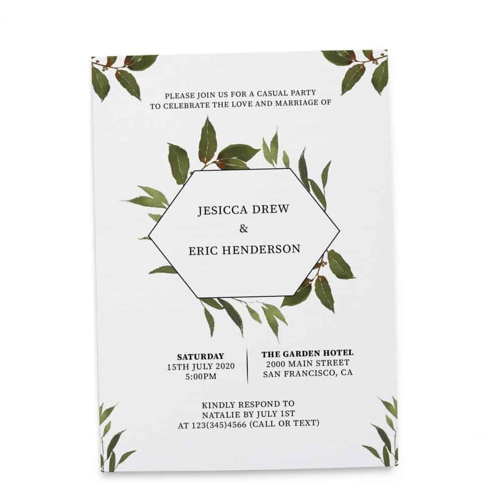 Elopement Reception Invitation Cards, Wedding Reception Invitations, Floral Invitation Card- Green Wreath Design elopement271