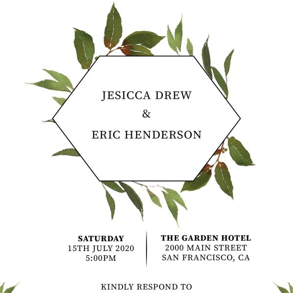 Elopement Reception Invitation Cards, Wedding Reception Invitations, Floral Invitation Card- Green Wreath Design