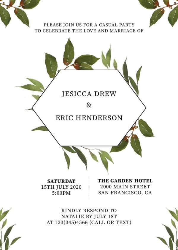 Elopement Reception Invitation Cards, Wedding Reception Invitations, Floral Invitation Card- Green Wreath Design