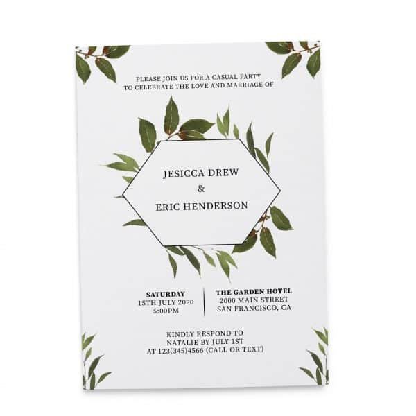 Elopement Reception Invitation Cards, Wedding Reception Invitations, Floral Invitation Card- Green Wreath Design elopement271