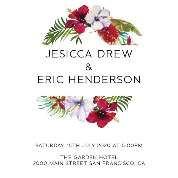 Summer Elopement Reception Invitation Cards, Wedding Reception Invitations, Floral Invitation Card- Garden Wreath Design