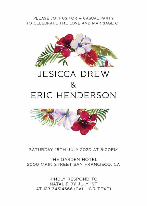 Summer Elopement Reception Invitation Cards, Wedding Reception Invitations, Floral Invitation Card- Garden Wreath Design
