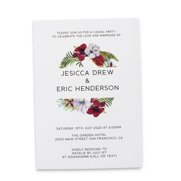 Summer Elopement Reception Invitation Cards, Wedding Reception Invitations, Floral Invitation Card- Garden Wreath Design elopement272