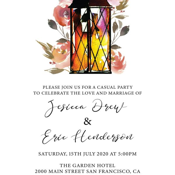 Rustic Elopement Reception Invitation Cards, Wedding Reception Invitations, Floral Invitation Card- Garden Lantern Design