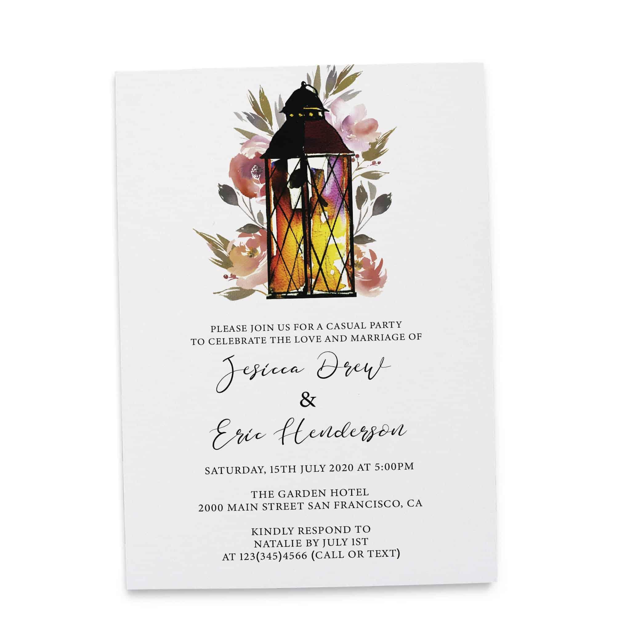 Rustic Elopement Reception Invitation Cards, Wedding Reception Invitations, Floral Invitation Card- Garden Lantern Design elopement273