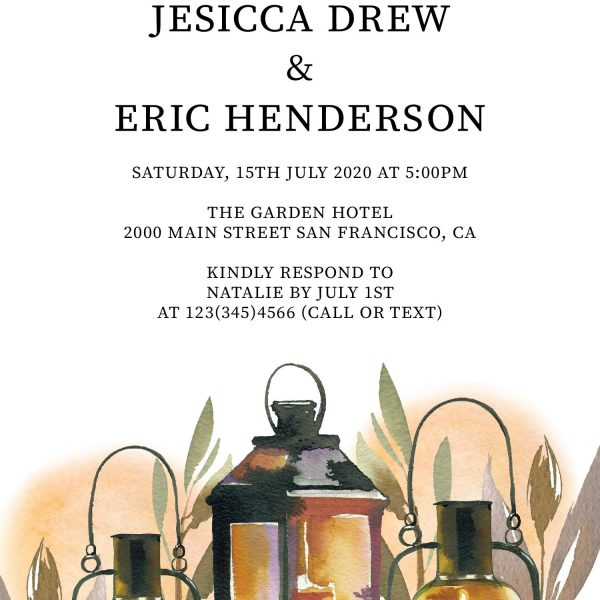 Rustic Elopement Reception Invitation Cards, Wedding Reception Invitations, Floral Invitation Card- Lantern with Leaves Design
