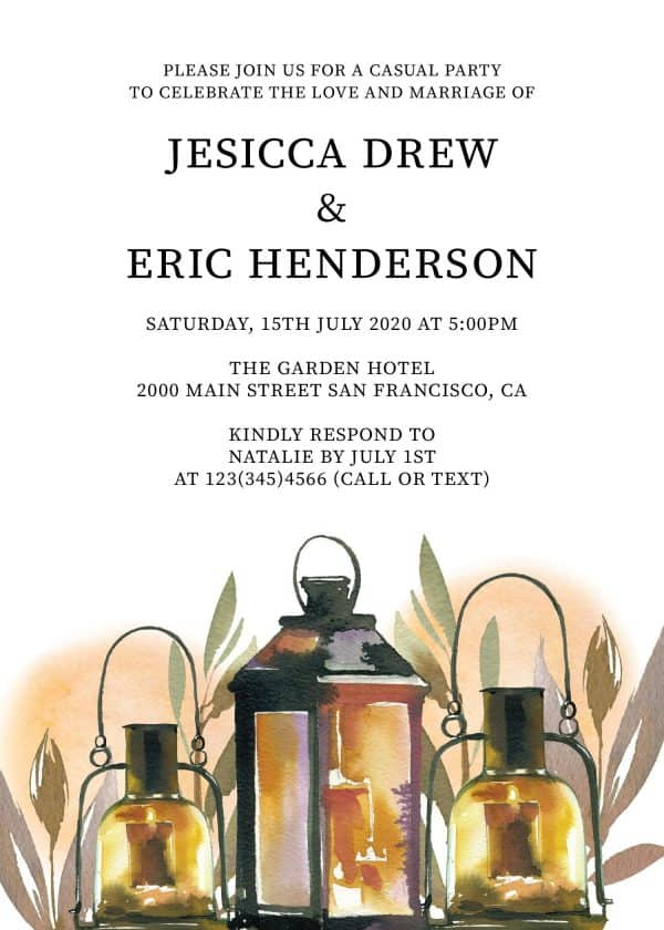 Rustic Elopement Reception Invitation Cards, Wedding Reception Invitations, Floral Invitation Card- Lantern with Leaves Design elopement274