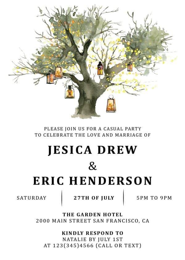 Rustic Elopement Reception Invitation Cards, Wedding Reception Invitations, Floral Invitation Card- Lantern Tree Design elopement275