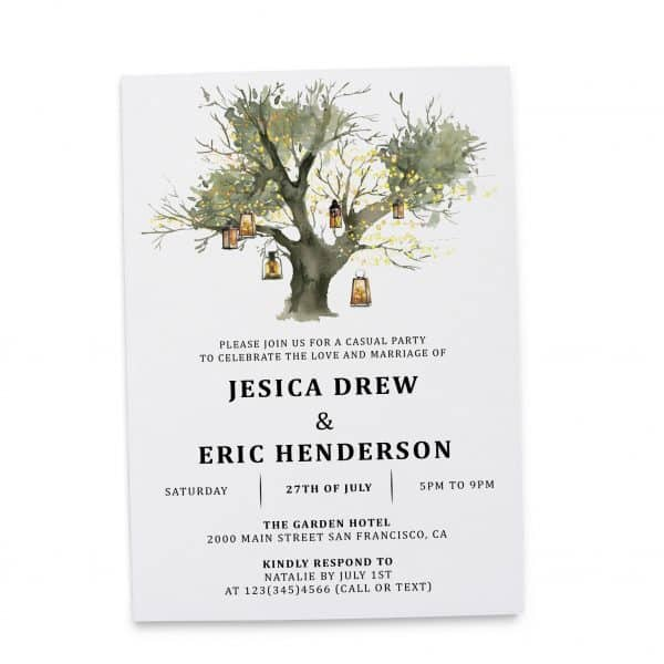 Rustic Elopement Reception Invitation Cards, Wedding Reception Invitations, Floral Invitation Card- Lantern Tree Design