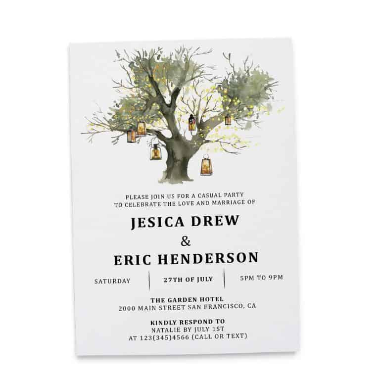 Rustic Elopement Reception Invitation Cards, Wedding Reception Invitations, Floral Invitation Card- Lantern Tree Design elopement275