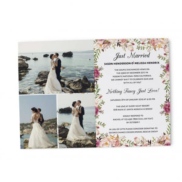 Elopement Reception Party Invitations, Wedding Reception Cards with Photo, Printed Printable Wedding Party Card,Delicate Floral Design