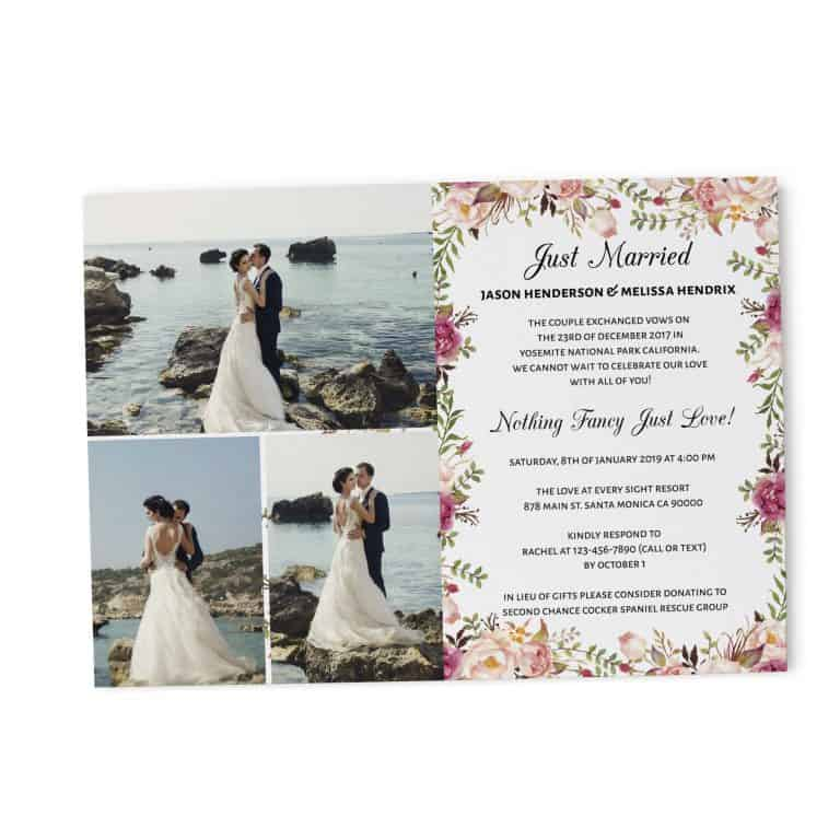 Elopement Reception Party Invitations, Wedding Reception Cards with Photo, Printed Printable Wedding Party Card,Delicate Floral Design elopement279