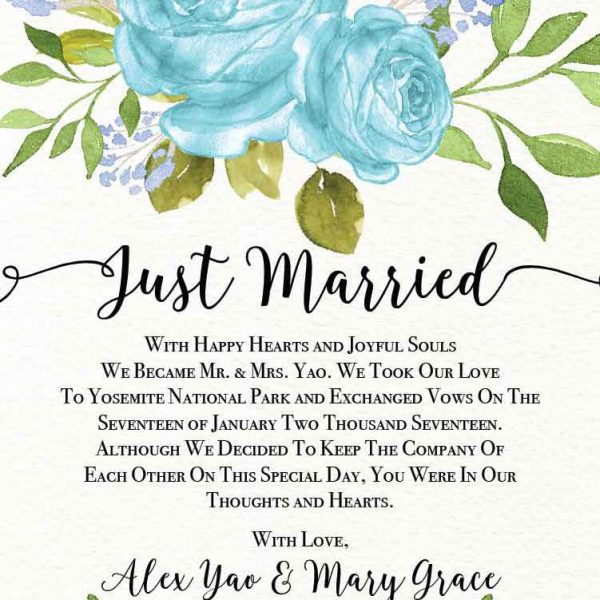 Elopement Announcement Cards, Wedding Announcement Cards, Printed and Printable Elopement Announcement Cards - Bright Blue Design