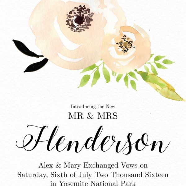 Elopement Announcement Card, Personalized & Printable, Elopement Card, Just Married Card, Eloped Card