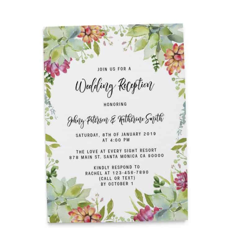 Wedding Invitation Cards Printed and Printable, Wedding Announcement Cards, Marriage Announcement Cards - Nice Floral Design elopement290