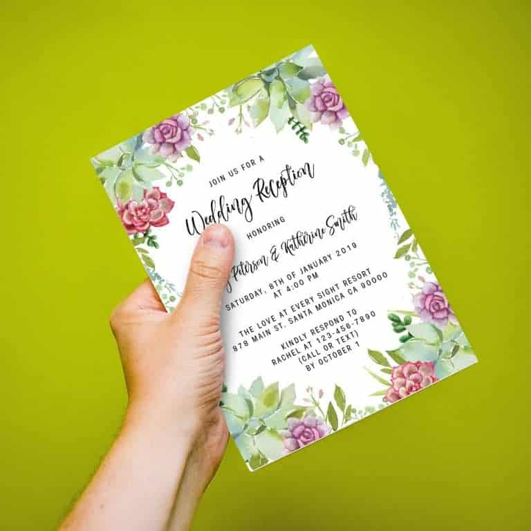 Wedding Reception Cards Printed and Printable, Wedding Announcement Cards, Marriage Announcement Cards - Adorable Floral Design