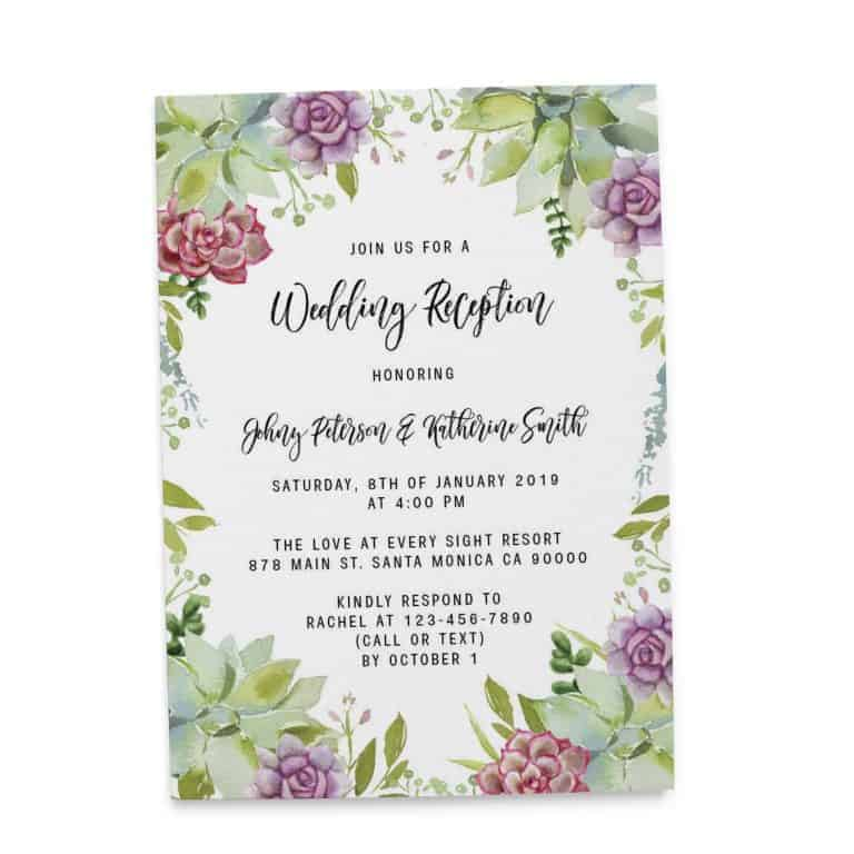 Wedding Reception Cards Printed and Printable, Wedding Announcement Cards, Marriage Announcement Cards - Adorable Floral Design elopement291