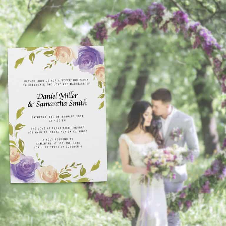 Wedding Invitation Cards Printed and Printable, Wedding Announcement Cards, Marriage Announcement Cards - Fresh Floral Design elopement293