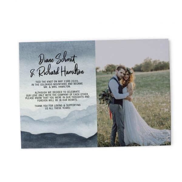 Elopement Announcement Cards with photo, Wedding Elopement Announcement Cards, Watercolour Mountain Design