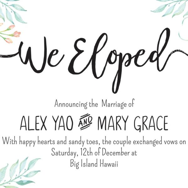 Floral We Eloped Cards, Elopement Announcement Cards