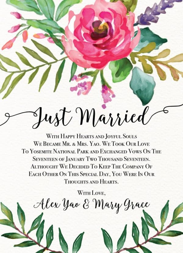 Just Married Cards, Elegant Floral Elopement Announcements, Elopement Announcement Cards