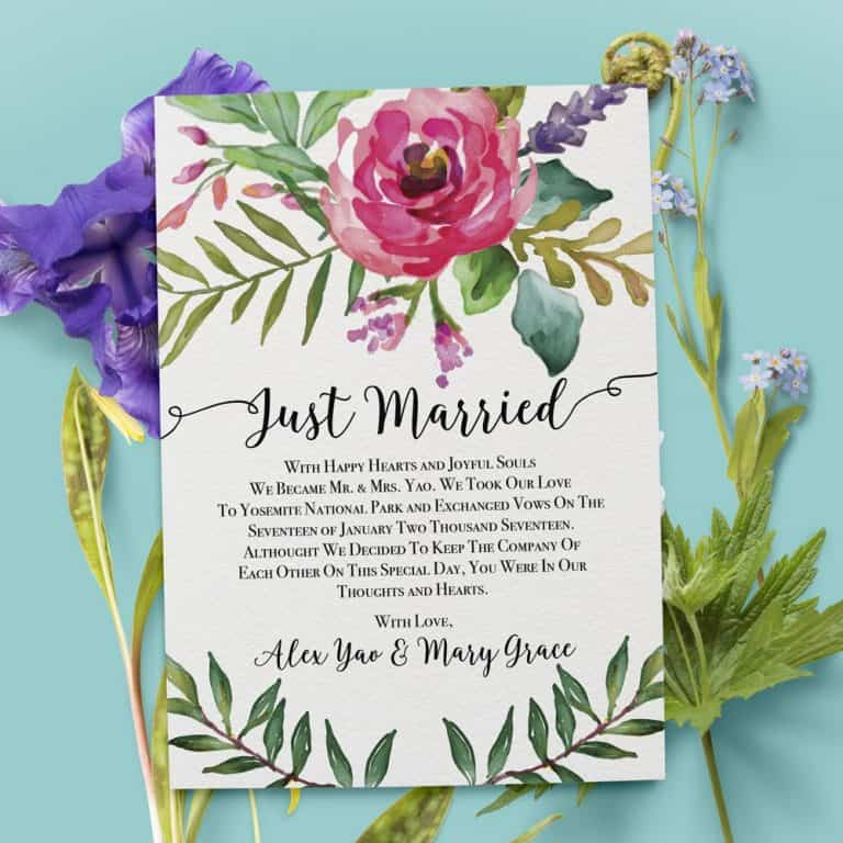 """Just Married"" Cards, Elegant Floral Elopement Announcements, Elopement Announcement Cards elopement30"