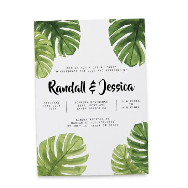 Fresh Wedding Reception Cards, Post Wedding Party Celebration Cards, Excited to Invite You Card, Splendid Nature Leaves elopement301