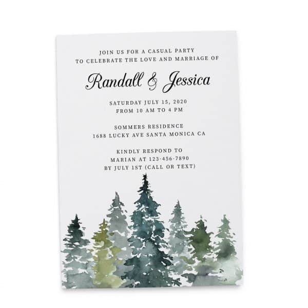 Fresh Wedding Reception Cards, Post Wedding Party Celebration, Joyful Invitation for You Card, Impressive Nature Leaves elopement303
