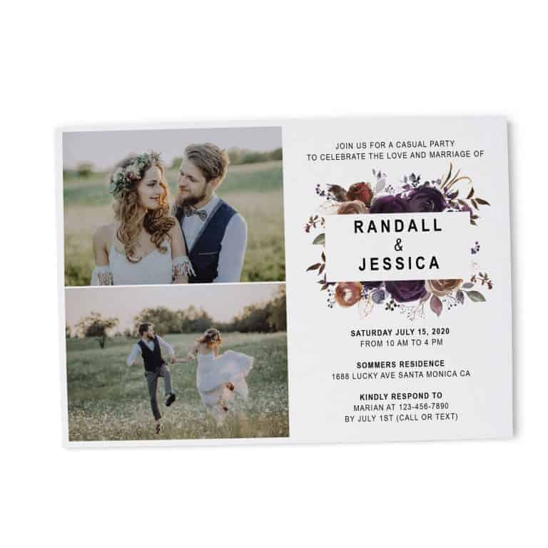 Wedding Party Invitation Photo Card, Marriage Reception Card, Inspiring Invitation Set, Beautiful Floral Theme