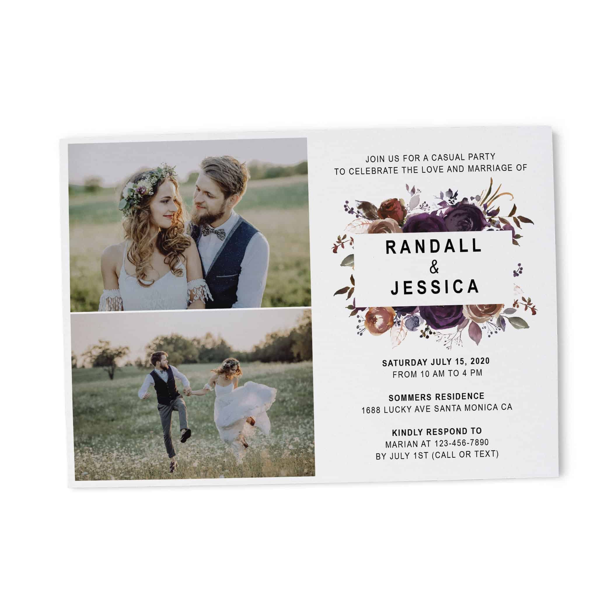 Wedding Party Invitation Photo Card, Marriage Reception Card, Inspiring Invitation Set, Beautiful Floral Theme