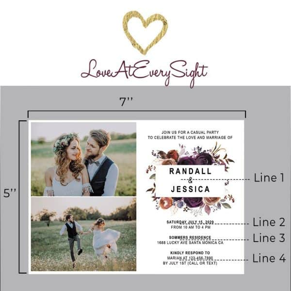 Wedding Party Invitation Photo Card, Marriage Reception Card, Inspiring Invitation Set, Beautiful Floral Theme elopement305
