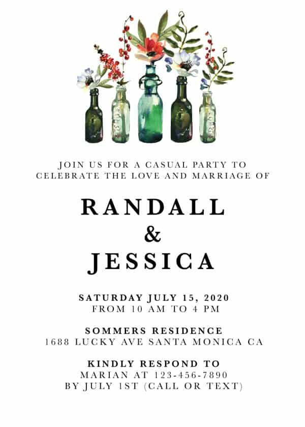 Casual Wedding Reception Invitation Cards - Marriage Reception Card, Amazing Invitation Set , Rustic Bottle Theme