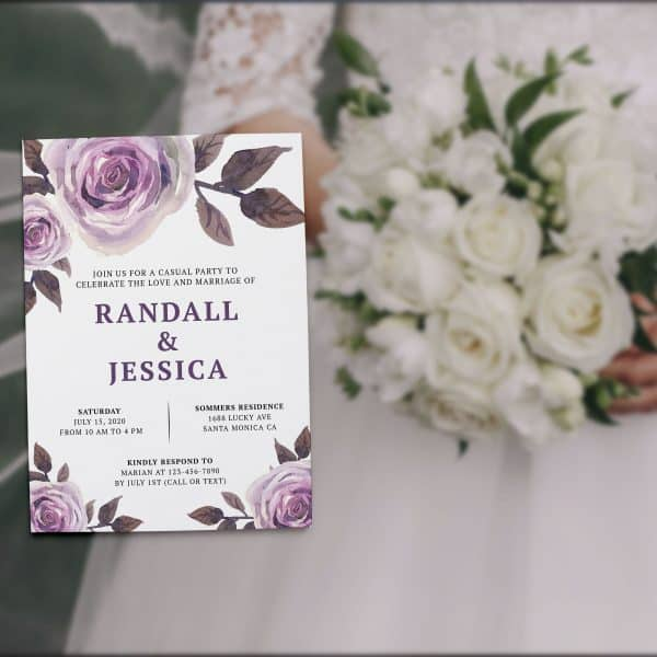 Casual Wedding Reception Floral Cards - Marriage Reception Card, Just Send us Your Details , Bright Floral Design elopement307