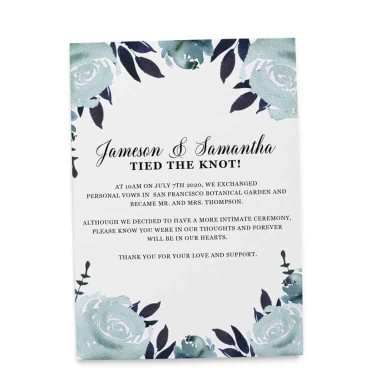 "Elopement Announcement Cards ""Tied the Knot!"", Wedding Announcement Cards, Post- Wedding Announcement Cards, Blue Water-Floral Theme"