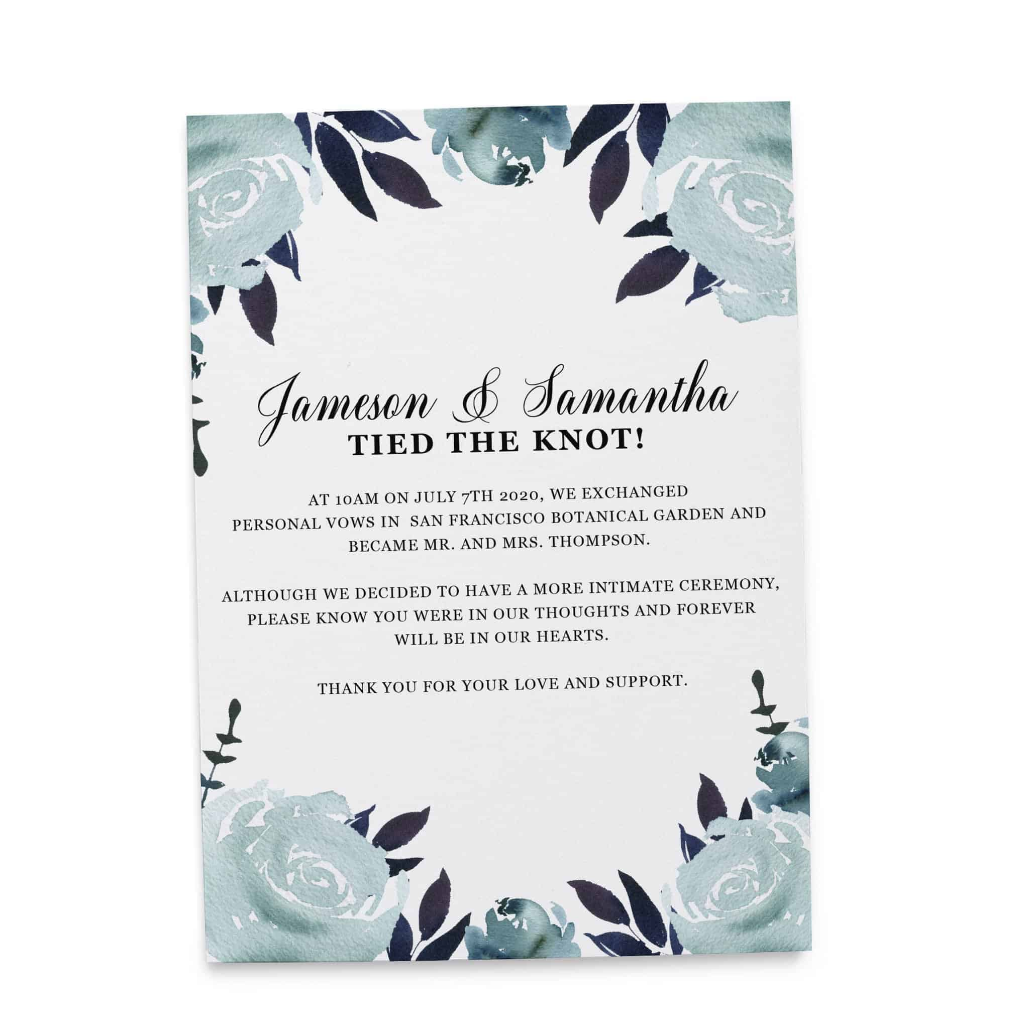 """Elopement Announcement Cards """"Tied the Knot!"""", Wedding Announcement Cards, Post- Wedding Announcement Cards, Blue Water-Floral Theme"""