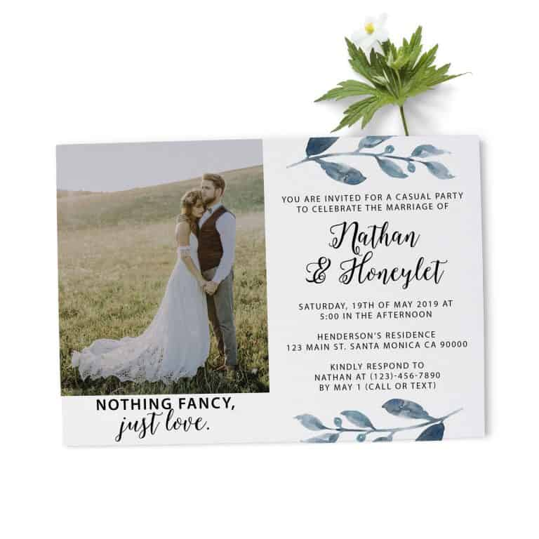 Elopement Reception Invitation Cards with Photo, Custom Wedding Announcement Cards, Beautiful Floral Theme