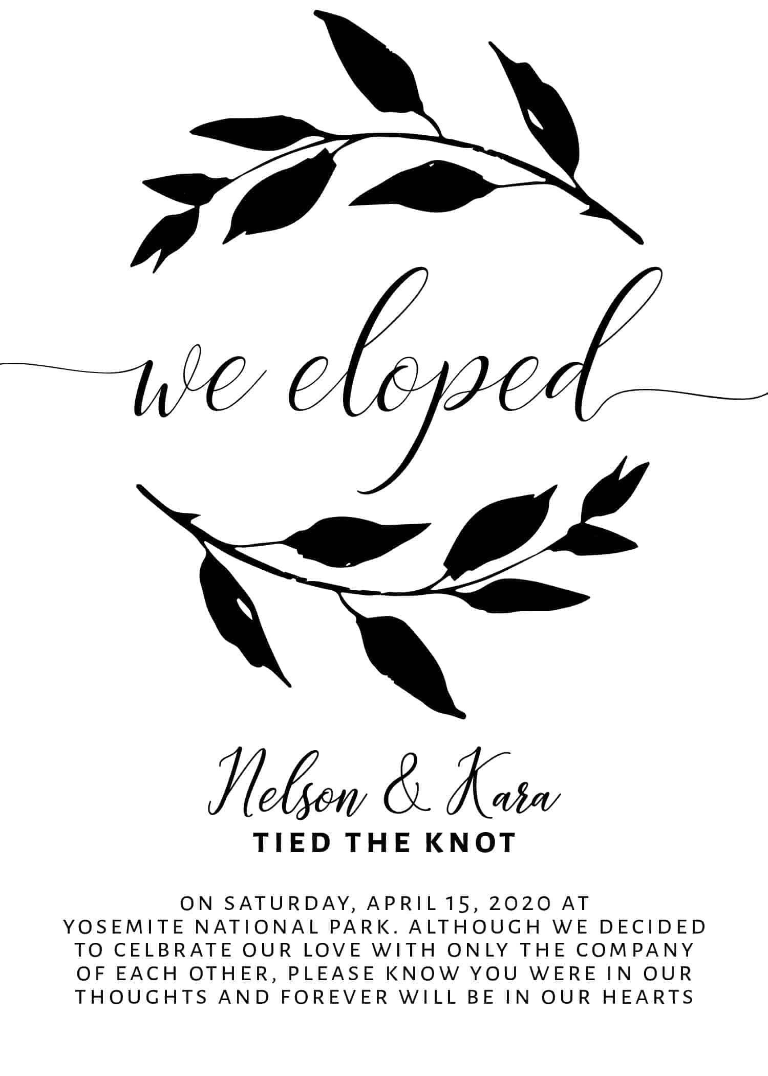 Married Announcement Card We Eloped, Wedding Announcement Cards, Printed Elopement Announcement Cards Tied The Knot