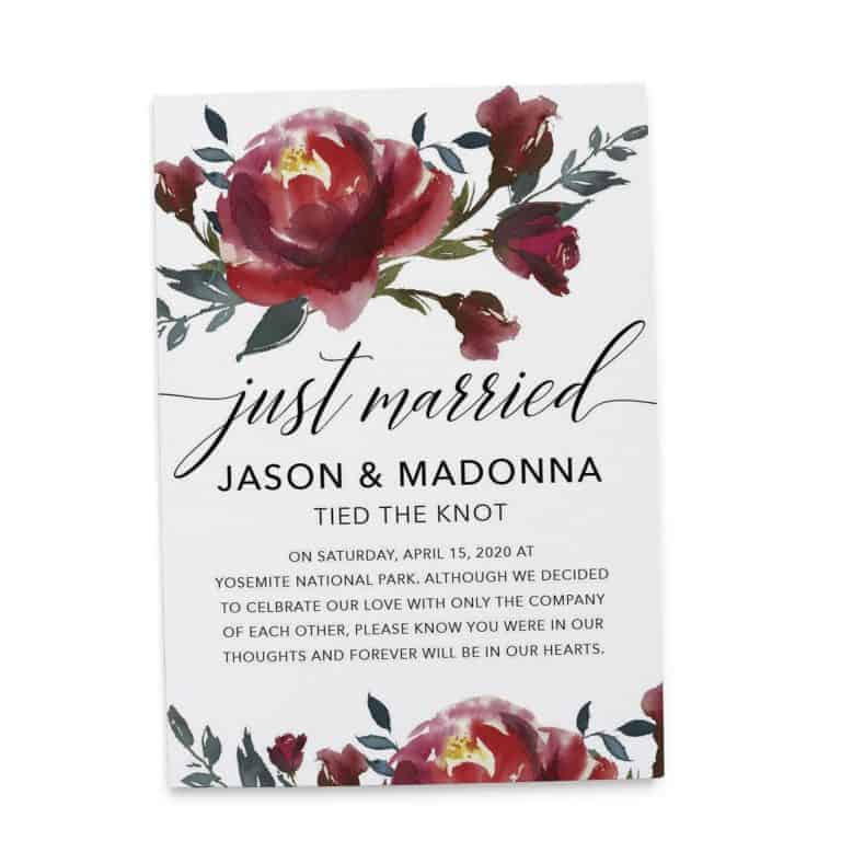 Married Announcement Card Just Married!, Wedding Announcement Cards, Printed Elopement Announcement Cards Tied The Knot