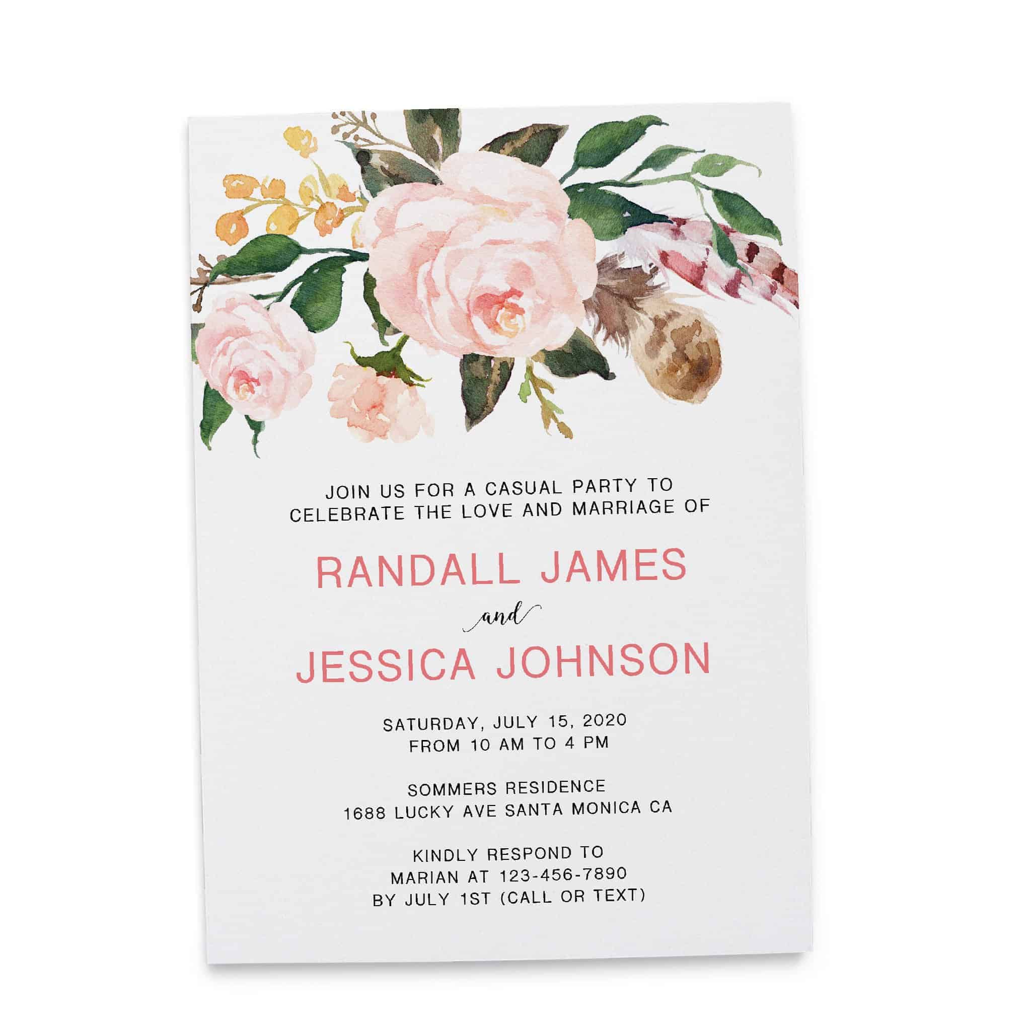 Bespoke Reception Invitation Cards, Pretty Floral Wedding  Party Invitations, Wedding Party Flat Card, Affordable Luxury