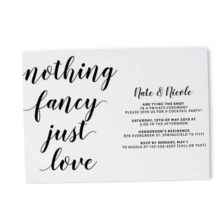 Casual Elopement Wedding Reception Cards, Simple Calligraphic Elopement Reception Party Invitations, Wedding Party Flat Card