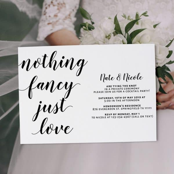 Casual Elopement Wedding Reception Cards, Simple Calligraphic Elopement Reception Party Invitations, Wedding Party Flat Card elopement318