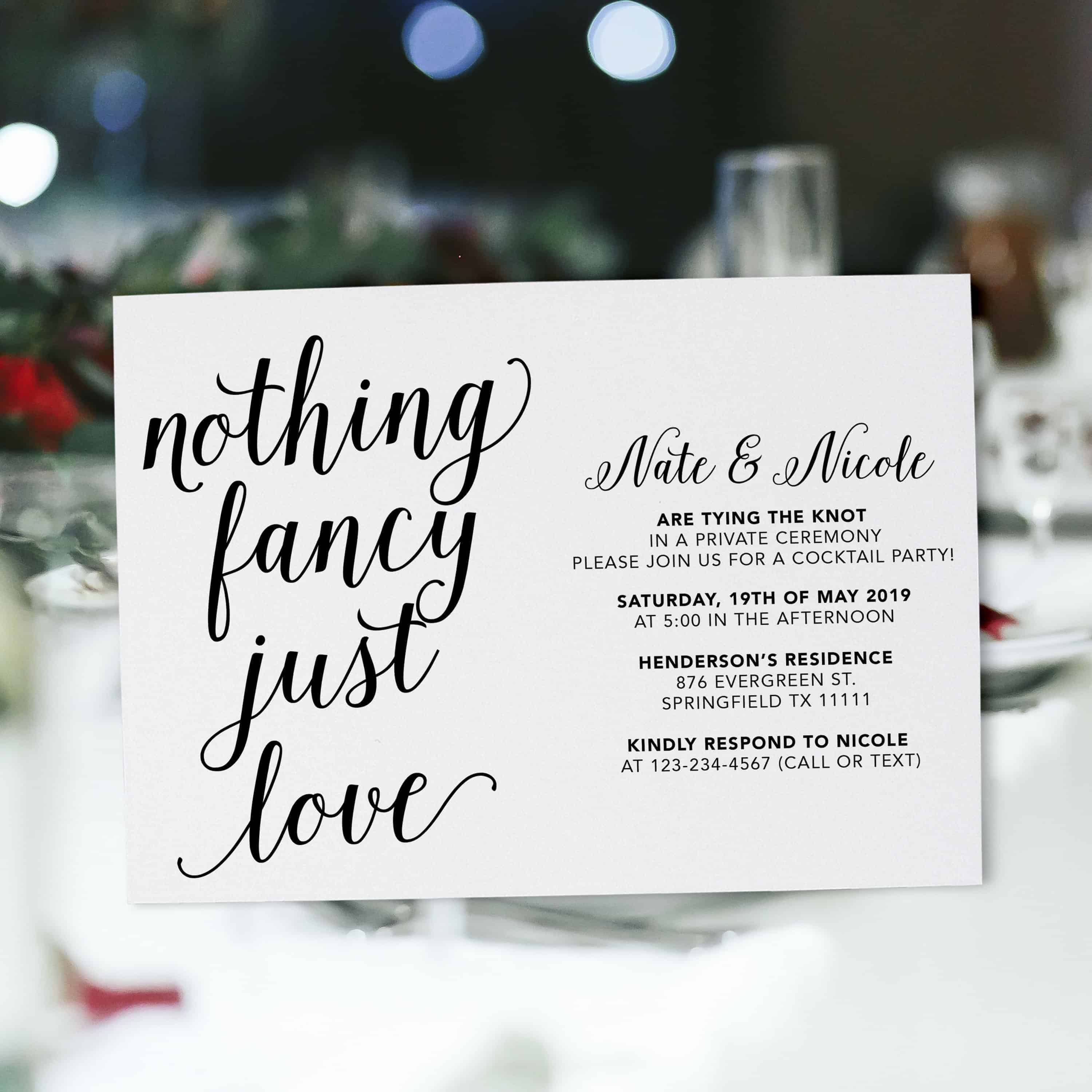 Casual Calligraphic Elopement Wedding Reception Cards, Simple Elopement Reception Party Invitations, Wedding Party Flat Card