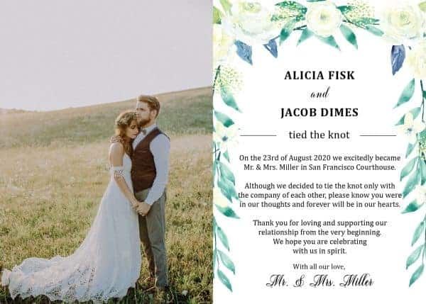 "Elope Announcement Card with Photo ""We Eloped"", Wedding Announcement Cards, Printed Just Married Announcement Cards"