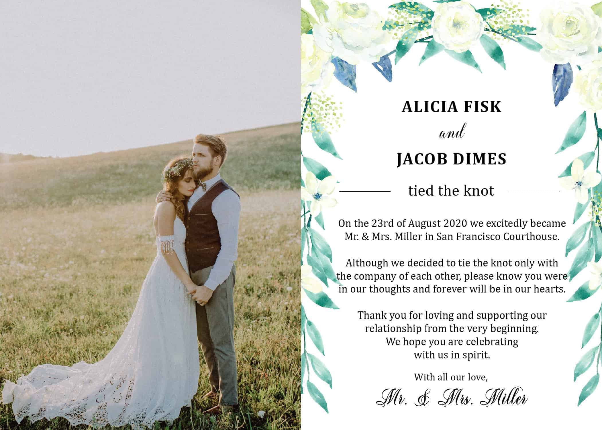 """Elope Announcement Card with Photo """"We Eloped"""", Wedding Announcement Cards, Printed Just Married Announcement Cards"""