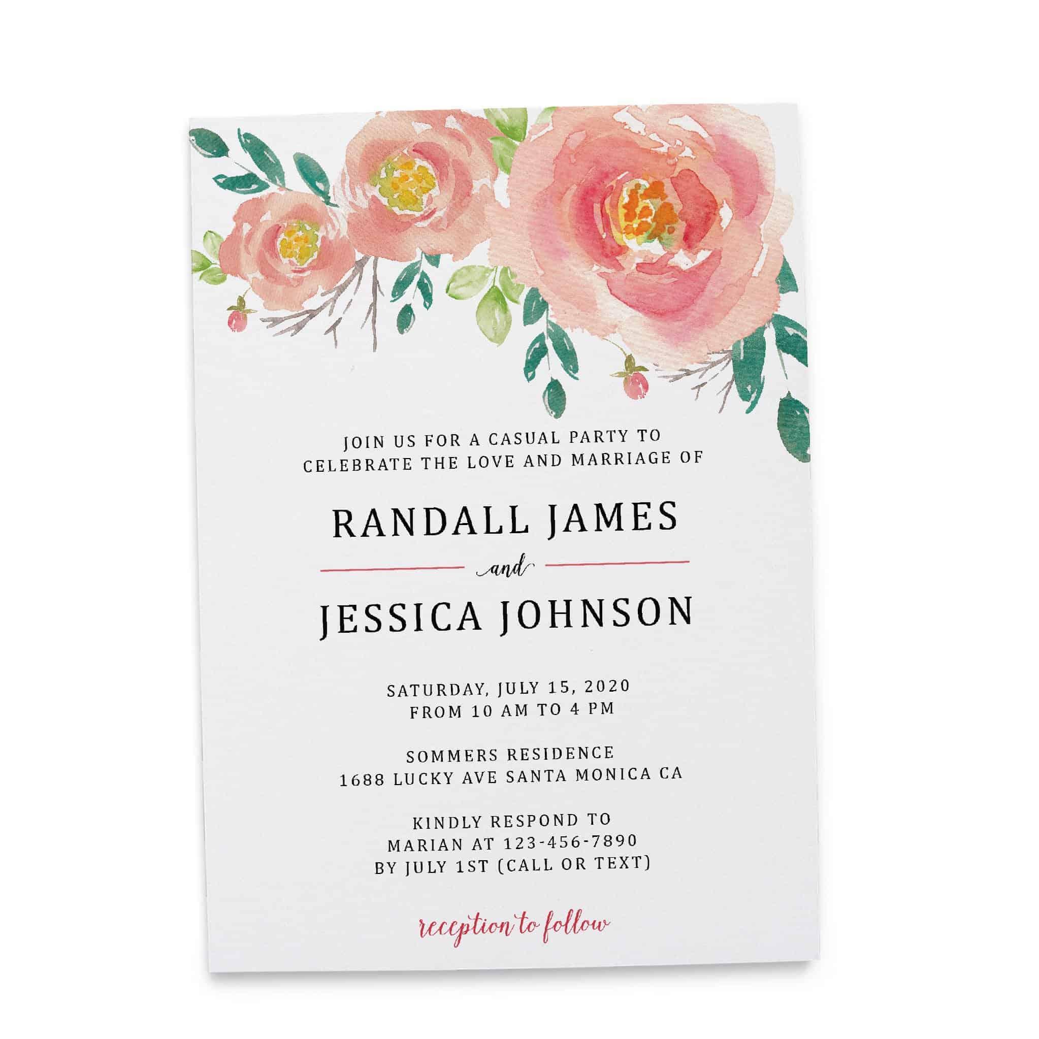 Bespoke Reception Invitation Cards, Pretty Floral Wedding  Party Invitations, Wedding Party Flat Card, Affordable Luxury