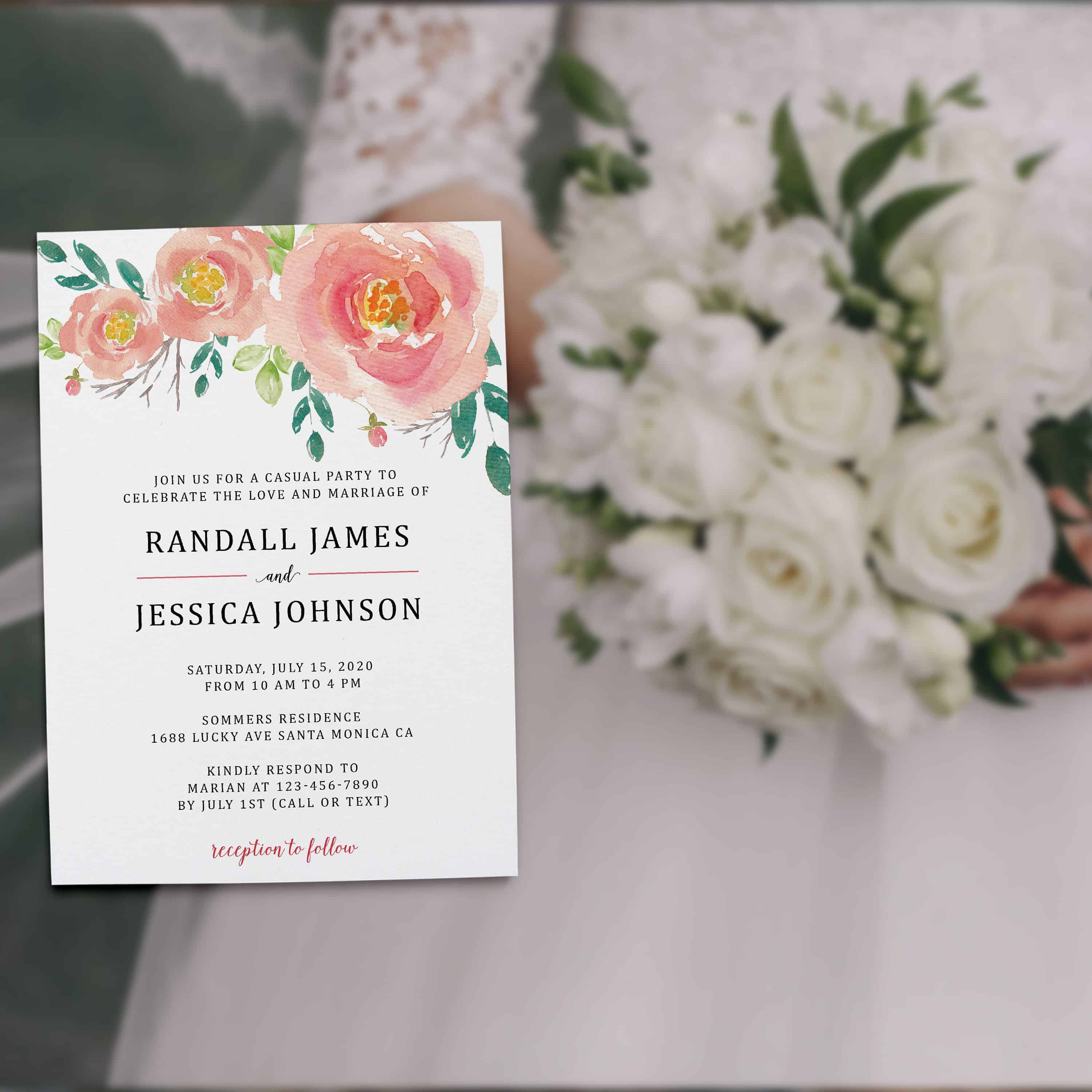 Bespoke Reception Invitation Cards, Pretty Floral Wedding  Party Invitations, Wedding Party Flat Card, Affordable Luxury elopement322