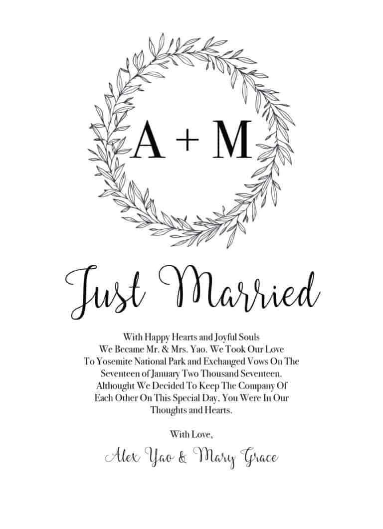 Simple Just Married Elopement Cards with Initials and Rustic Wreath